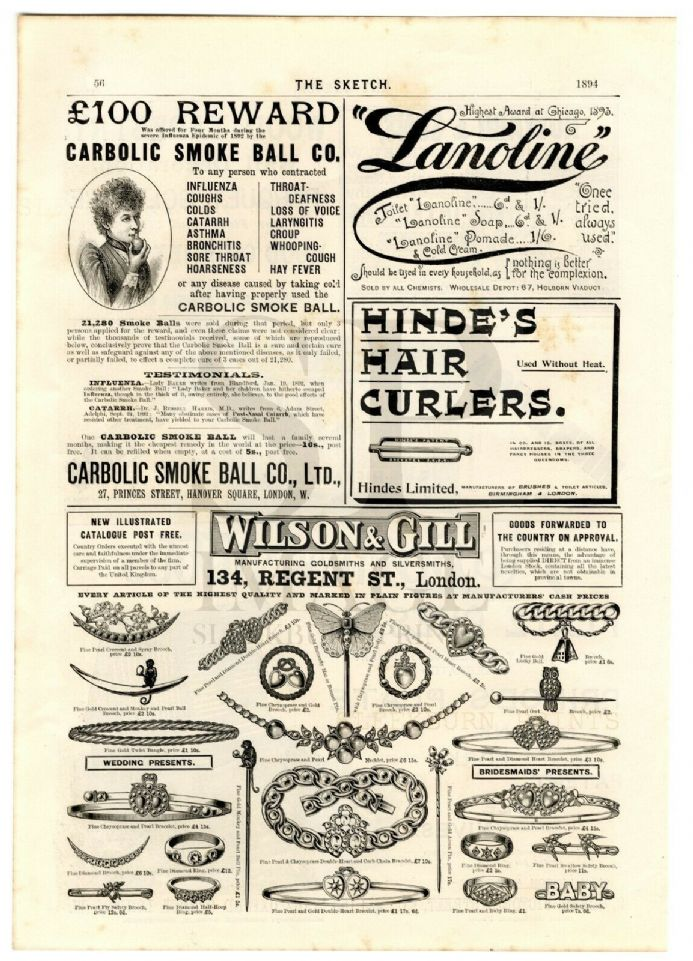 1894 CARBOLIC SMOKE BALL Antique Print VICTORIAN ADVERTS Jewellery CURLERS etc